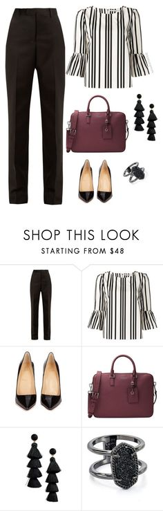 """work wear "" by stylebyshannonk on Polyvore featuring Maison Margiela, Alice + Olivia, Christian Louboutin, Michael Kors, BaubleBar and Kendra Scott"