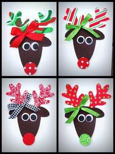 reindeer applique - this would be cute to tweak for a craft using scrapbook paper. Kids could choose from the different options to put their reindeer together. Preschool Christmas, Christmas Crafts For Kids, Christmas Activities, Kids Crafts, Christmas Projects, Preschool Crafts, Christmas Themes, Winter Christmas, Holiday Crafts