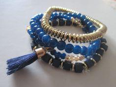 Bracelets – set of 4, tassel and boho style BLUE/GOLD **NEW – UK Seller – Boho