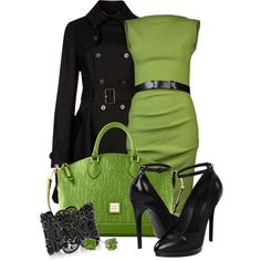"""Two-Tone Green/Black"" by happygirljlc on Polyvore"