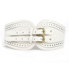 Opentip.com: Double Buckle Wide Leather Corset Waist Belt - Ivory