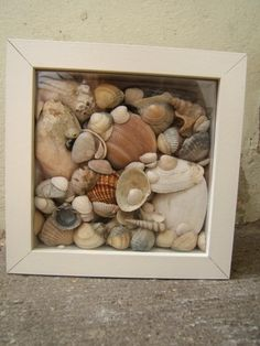 Ribba frame from IKEA and sea shells. Simple!-idea: to write a message from Chris and I at the end of the wedding and give each one to family members with special thanks for everything. Use shells collected at the beach