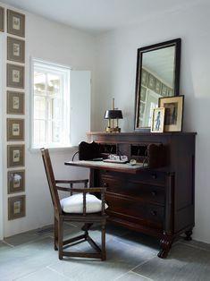 Peachtree Battle - Amy Morris Interiors Study Office, Home Office, Tuxedo Park, Johnson City, Desk Set, Corner Desk, Framed Art, Amy, Battle