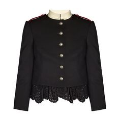 Alexander McQueen Ruffled-hem grain de poudre military jacket ($3,058) ❤ liked on Polyvore featuring outerwear, jackets, black, peplum leather jacket, cropped army jacket, real leather jackets, leather jackets and cropped military jackets