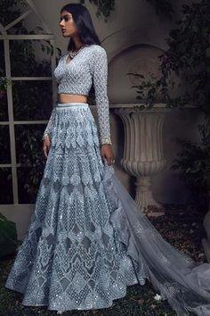 Light Blue Lehenga with Embellished Long Sleeve Blouse – Studio Indian Gowns Dresses, Indian Fashion Dresses, Dress Indian Style, Indian Designer Outfits, Indian Designers, Indian Outfits Modern, Indian Fashion Trends, Ethnic Outfits, Fashion Outfits
