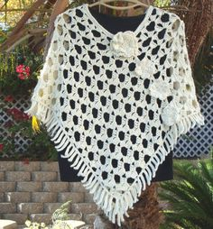 All Season Off White Soft Cotton Poncho by LolasCustomJewelry, $65.00