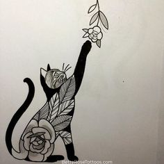 awesome Geometric Tattoo - Best Geometric Tattoo - Rose cat tattoo design by Betty Rose #BettyRose #cat #ki...
