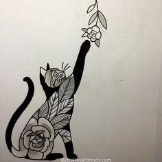 awesome Geometric Tattoo - Best Geometric Tattoo - Rose cat tattoo design by Betty Rose #BettyRose #cat #ki...