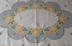 Big Easter Vintage White Cotton Tablecloth with Yellow and Green Cross Stitches, European vintage