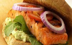 Cajun salmon sandwich with goat cheese and lemon mayonnaise on ciabatta Recipe by Aaron McCarg...