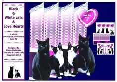 Black White Cats Love Hearts 4 Fold Concertina Card Kit  on Craftsuprint designed by Elaine Sheldrake - A folding screen with off the side, very cute black and white kitty cats. This is very easy to make and comes with full printed instructions and 6 different sentiments on pretty love hearts, plus spare hearts and tags to put your own sentiments on. Perfect for children and adults, for Birthdays for friends and relatives and also for Valentine's Day and Mother's Day. - Now available for ...
