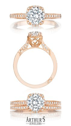From our Dantela Collection, this unique setting creates a look that is a beautiful juxtaposition of modern, yet traditional; classic, yet unconventional. A diamond center stone is flanked by pave-set diamonds. Tacori Dantela 2620RDSMPPK available at Arthur's Jewelers