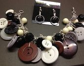 PRICE CUT: Neutral Colored Vintage button bracelet and earrings set
