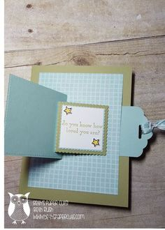 Hi Everyone, Today I want to show you a fun card with a little motion to it. When you pull the tab, the front panel flips open to reveal ...