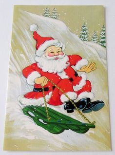 Used Vtg Christmas Card Santa Sledding Down Hill on Green Sled