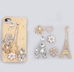 Eiffel Tower Bling Crystal Flower DIY Cell Phone Case shell Cover Deco Kit, is made of high quality crystal and alloy material, do it yourself. DIY Deco Den Kit, enjoy your imagination, you can decorate whatever you'd like! Bling Phone Cases, Diy Phone Case, Cute Phone Cases, Iphone Phone Cases, Diy Flowers, Flower Diy, Diy Coque, Teenager Mode, Fleurs Diy