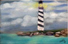2000-Now 4x6in OSWOA Original Oil Realism Sea Ocean Lighthouse signed Nova Hart #Realism