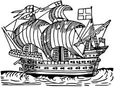 Sailing ship 2 by @Firkin, From a drawing in 'Real Sailor-Songs', John Ashton, 1891., on @openclipart