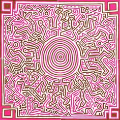 Keith Haring, Untitled, 1989 acrylic on canvas 40 x 40 inches x cm