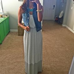 Gilli Izel Striped Maxi Dress ($44). This dress has a racerback.  I loved the soft grey and color block on bottom. LOVE THIS!!!!!!
