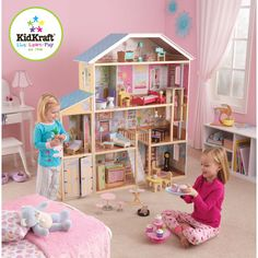 """Kidcraft Majestic Mansion Dollhouse  Wayfair is out of stock on this one. They had it for $185 free shipping  FEATURES: 34 Furniture pieces and accessories, including a grandfather clock, a cute little kitten and more 8 Rooms of open space to decorate Elevator glides back and forth between the second floor and the third floor Garage with doors that swing open and close Wide windows on both sides for viewing dolls from a different point of view Accommodates dolls up to 12"""" tall $169…"""