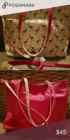 PRICE DROP!!  Reversible Flamingo Handbag Adorable!  Flamingo fever tote!  Reversible, short handles and long detatchable cross body strap included. Pink side is leatherette, flamingo side is fabric.  Magnetic closure.  Never Used. Bags