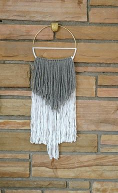 """AURA - Gray + White Mixed Fiber Macrame Tapestry Wall Hanging on 8"""" Brass Hoop (Boho Chic, home decor, gifts for the home, decorating)"""