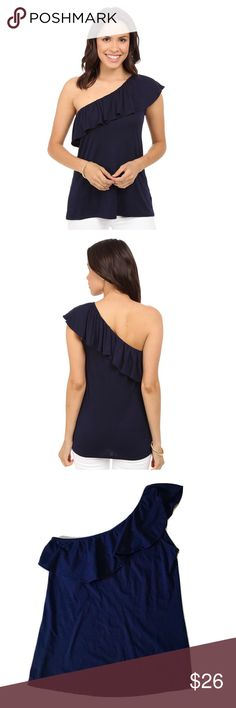 Lilly Pulitzer Neveah Top in True Navy The Neveah Top is a one shoulder solid top with flounce details. This flattering summer top is perfect with white jeans and wedges for a dinner out with friends. One Shoulder Tank Top With Flounce And Embroidered Logo At The Hem. Lightweight Rayon Spandex Jersey (95% Rayon, 5% Spandex). EUC from a smoke-free home! Lilly Pulitzer Tops Blouses