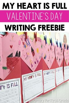 "Celebrate Valentine's Day in your classroom this year with my FREE writing activity that allows students to share what ""fills their heart"". This activity is perfect for kindergarten, first grade, or even second grade students! After the students complete the activity, it's fun to allow them time to share with the class what they wrote about! #annabrantleysteachingresources #writing #freebie #valentinesdayideas"