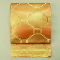 Orange gold, rokutsu fukuro obi / オレンジ色 金色 亀甲柄 六通 袋帯 アンティーク
