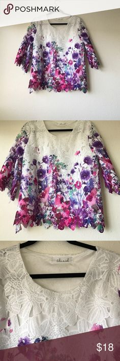 Beautiful floral lace shirt from Chicwish Soooo pretty but too big for me. 😭 Pairs well with jeans on a spring/summer day. chicwish Tops Blouses