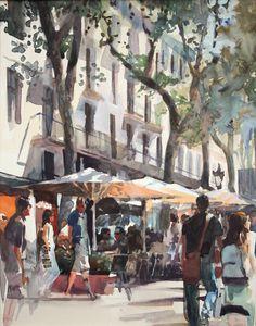 The Ramblas (Barcelona) - gouache sketch by David Walker