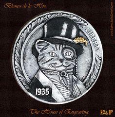 "Hobo Nickel 1935-S  ""Mr. Cat"" Carved by Blanca de la Hoz"