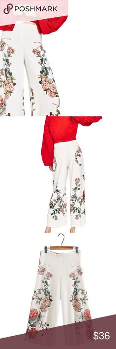 "Floral Wide Leg Pant casual style, wide leg design, zipper fly, loose fit for comfort, mid-rise, cotton/polyester blend, vibrant print  ❤Add this to your ""likes"" to get updates. 🎁Optional: Purchase now & I'll automatically ship arriving🔜 sizes when they are in stock. ❓Ask all your questions before you buy so I can make your purchase perfect. Pants"