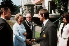 Queen Juliana congratulates Johan Cruijff and Ajax coach Rinus Michels (on the left) on winning Ajax's first European Cup, 1 July 1971.
