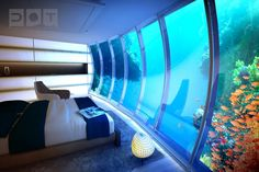 Artist's rendering of the view from an underwater guestroom at the Water Discus hotel