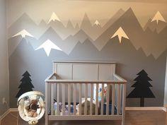 Our Anak Mountain outdoors nursery design. Our Anak Baby Boy Nursery Themes, Baby Boy Rooms, Baby Boy Nurseries, Baby Room, Kids Rooms, Nursery Room, Kids Bedroom, Nursery Decor, Woodland Room