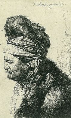 A Segunda Cabeça Oriental. Gravura em água-forte. 1635. Rembrandt Van Rijn (1606-1669). Pintor holandês.