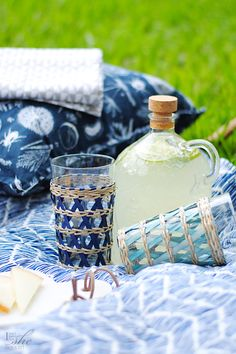 Dine in the great outdoors with stylish acrylic drinkware! We love this corked jug, perfect for homemade limeade, and these woven detailed cups too!