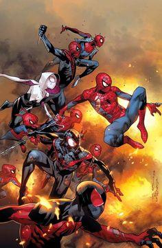 As belas capas das edições de janeiro da saga ARANHA-VERSO! - Actions & Comics.