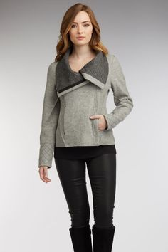 Womens Quilted Moto Jacket in gray boiled alpaca wool   Indigenous