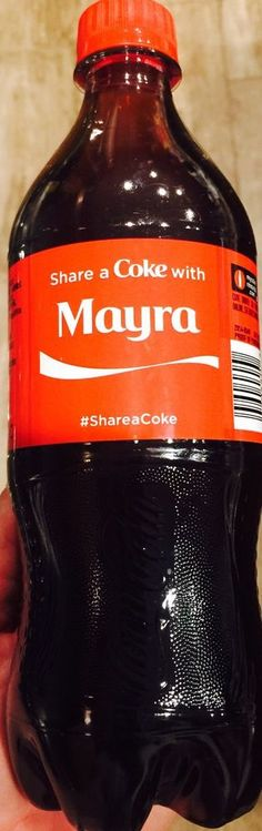 2015 Share A Coke With Mayra 20 oz plastic bottle