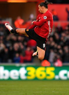 Zlatan Ibrahimovic of @manutd celebrates after scoring.
