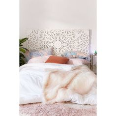Sienna Headboard ($329) ❤ liked on Polyvore featuring home, furniture, beds, urban outfitters furniture, urban outfitters bed, queen headboard, urban outfitters and sienna furniture