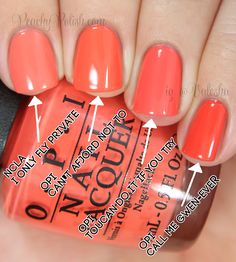 OPI: Nordic Collection Comparisons Pointer to pinkie; 2 coats of each: Milani Colorful Coral OPI Cant Afjörd Not To CND Dese… Opi Nail Polish, Opi Nails, Nail Polishes, Cute Nails, Pretty Nails, Opi Nail Colors, Coral Nails, Manicure Y Pedicure, Mani Pedi