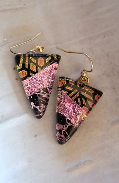 Fused Dichroic Glass Earrings Fused Jewelry Dangle by myfusedglass, $20.00