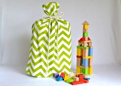 Santa Sack Christmas Gift Bags in Green by DappleDesignShop