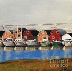 Painting of maritime boats in acrylic paint on canvas. Artwork by Sharon Patterson may be PURCHASED at: http://1-sharon-patterson.fineartamerica.com