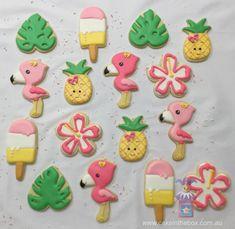 Flamingo tropical decorated sugar cookies