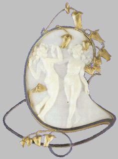 lalique bijoux. René Lalique. Pendant, two dancing figures